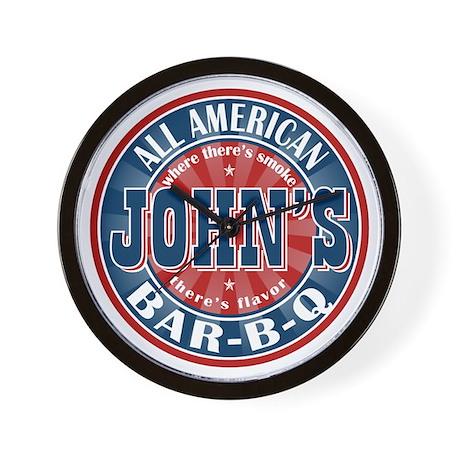 John's All American BBQ Wall Clock
