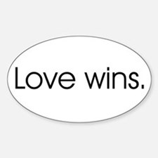Love wins Oval Stickers