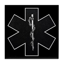 Star of Life(BW) Tile Coaster