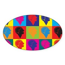 Psychology Pop Art Oval Decal