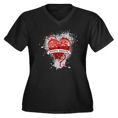 Heart North Dakota Women's Plus Size V-Neck Dark T