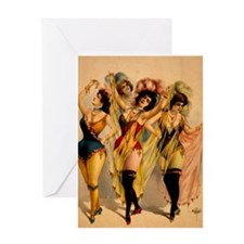 Four Burlesque Girls Greeting Card