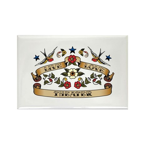 Live Love Theater Rectangle Magnet (100 pack)