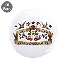 "Live Love Stenography 3.5"" Button (10 pack)"