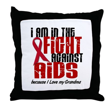 In The Fight Against AIDS 1 (Grandma) Throw Pillow
