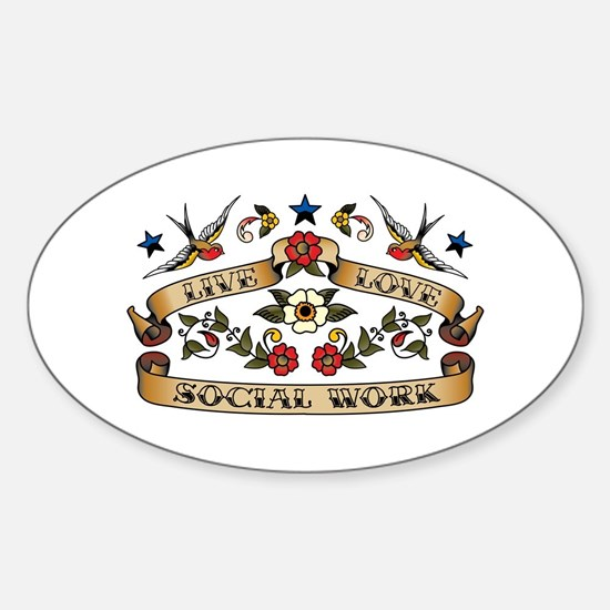 Live Love Social Work Oval Decal