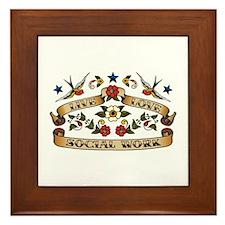 Live Love Social Work Framed Tile