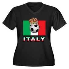 Italy Football Women's Plus Size V-Neck Dark T-Shi
