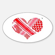 Keffiyeh love red Oval Decal