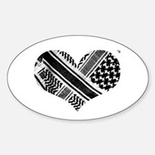 Keffiyeh love black Oval Decal