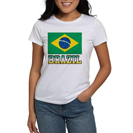 Brazil women 39 s classic white t shirt brazil women 39 s t for Womens brazil t shirt