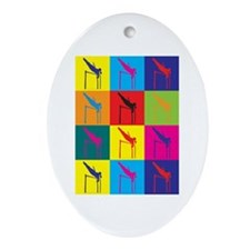 Pole Vaulting Pop Art Oval Ornament