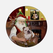 Santa's English Bulldog 1Ornament (Round)