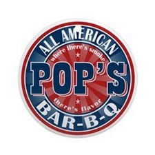 Pop's All American BBQ Ornament (Round)