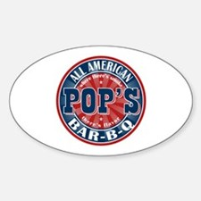Pop's All American BBQ Oval Decal