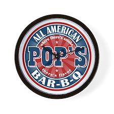 Pop's All American BBQ Wall Clock