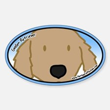 Anime Golden Retriever Oval Decal