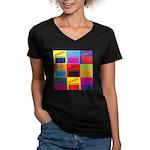 Movies Pop Art Women's V-Neck Dark T-Shirt