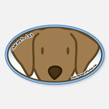 Anime Chocolate Lab Oval Decal