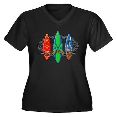 Surf It Women's Plus Size V-Neck Dark T-Shirt