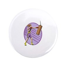 """purple boxer lady punch 3.5"""" Button (100 pack)"""