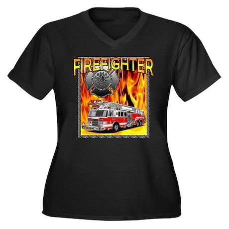 LADDER TRUCK Women's Plus Size V-Neck Dark T-Shirt