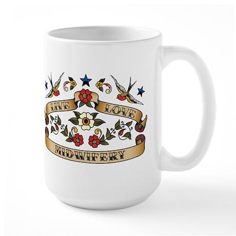 Live Love Midwifery Large Mug