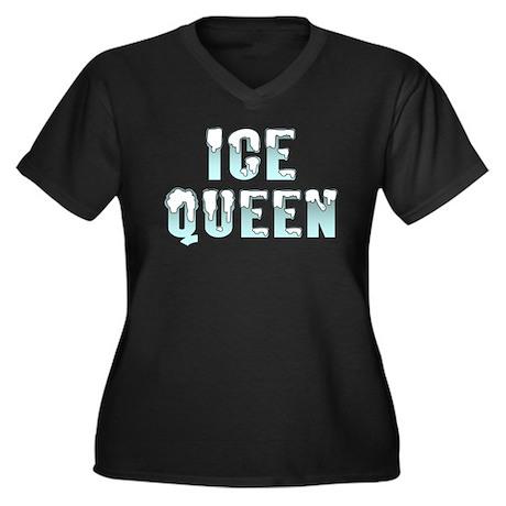 ICE QUEEN Women's Plus Size V-Neck Dark T-Shirt