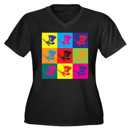 Magic Pop Art Women's Plus Size V-Neck Dark T-Shir