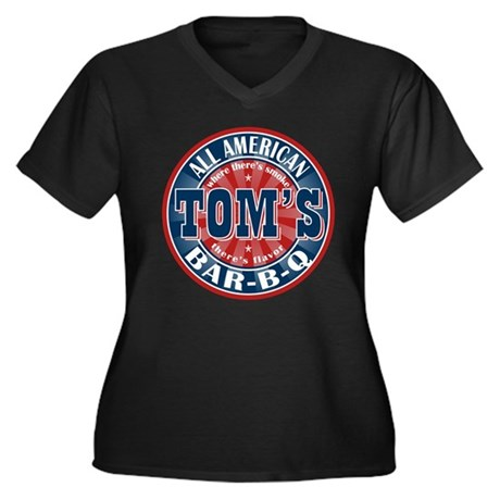 Tom's All American BBQ Women's Plus Size V-Neck Da