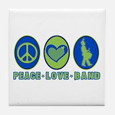 PEACE - LOVE - BAND Tile Coaster