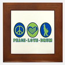 PEACE - LOVE - DRUM Framed Tile