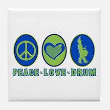 PEACE - LOVE - DRUM Tile Coaster