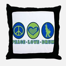 PEACE - LOVE - DRUM Throw Pillow