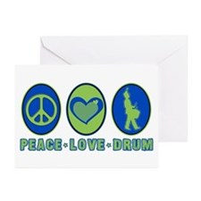 PEACE - LOVE - DRUM Greeting Cards (Pk of 10)
