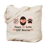 Peace Love GSP Rescue Tote Bag