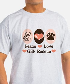 Peace Love GSP Rescue T-Shirt