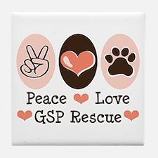 Peace Love GSP Rescue Tile Coaster