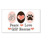 Peace Love GSP Rescue Rectangle Sticker