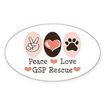 Peace Love GSP Rescue Oval Sticker