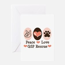 Peace Love GSP Rescue Greeting Card