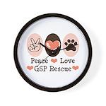 Peace Love GSP Rescue Wall Clock