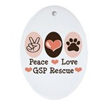 Peace Love GSP Rescue Oval Ornament