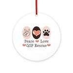 Peace Love GSP Rescue Ornament (Round)