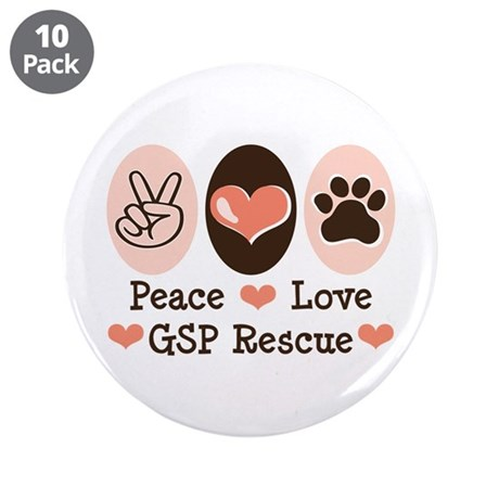 """Peace Love GSP Rescue 3.5"""" Button (10 pack)"""