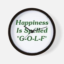 """Happiness Is """"G-O-L-F"""" Wall Clock"""
