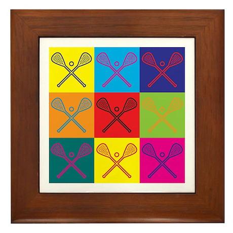 Lacrosse Pop Art Framed Tile