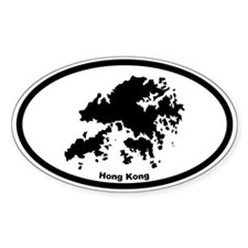 Hong Kong Outline Oval Decal