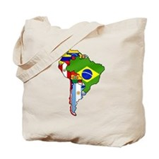 South America Flag Map Tote Bag