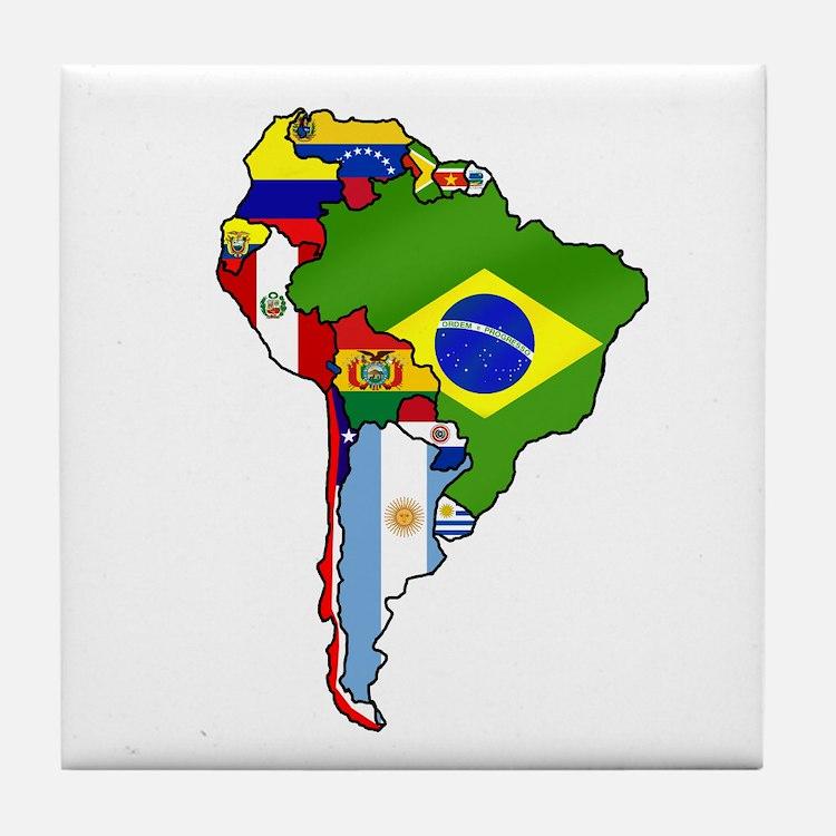 South America Flag Map Tile Coaster